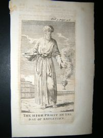 Religious C1750 Antique Print. Judaica. High Priest, Jewish